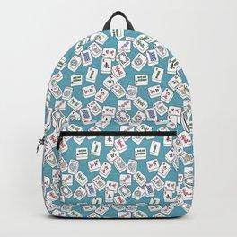 Mahjong Tiles Jumbled Across Aqua Background With Swirls Backpack