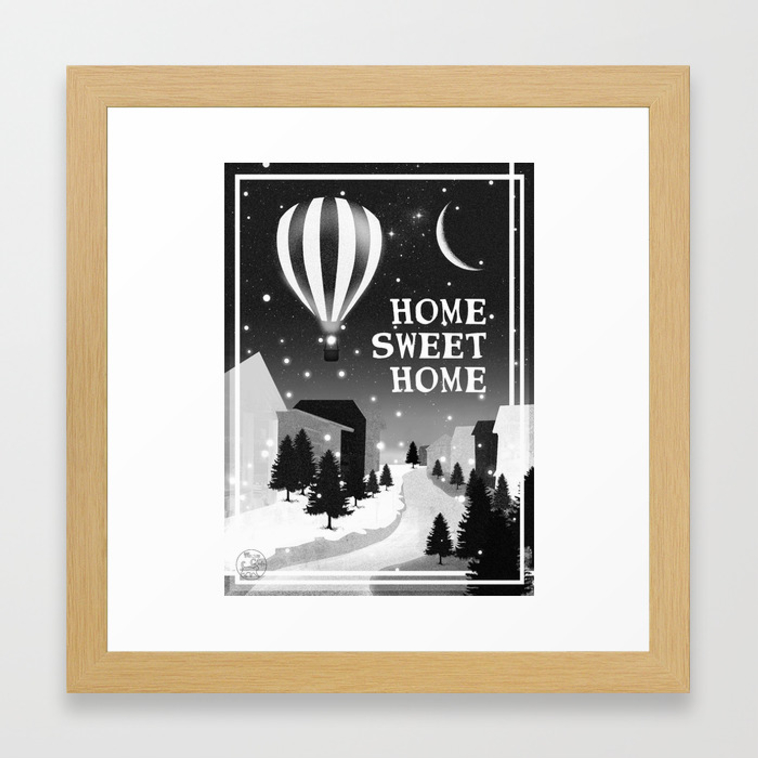 Hot Air Balloon Home Sweet Snowy Little Town Night Staroon Decor Christmas Spirit Framed Art Print