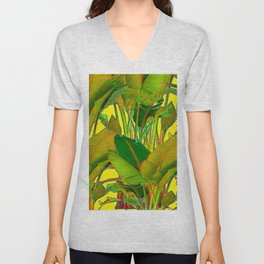 GOLDEN TROPICAL FOLIAGE GREEN & GOLD LEAVES AR Unisex V-Neck