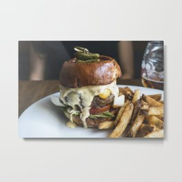 Burger with tiny pickled on food photography Metal Print