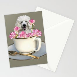 Coffee Cup with Poodle and Lotus Flowers Stationery Cards
