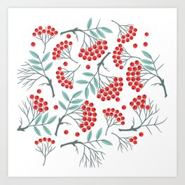 botanical plants elegant sage green leaf red christmas holly winterberry  Art Print