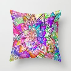 Psychedelic Neon Colorful Vintage Floral Pattern Drawing Watercolor Throw Pillow