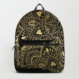 Hand drawn golden mandala Backpack