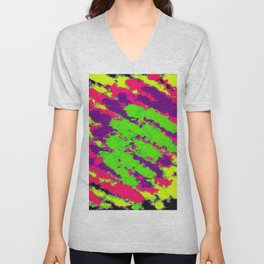 psychedelic splash painting abstract texture in yellow green pink purple black Unisex V-Neck