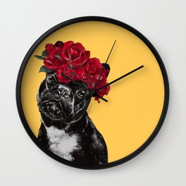 French Bulldog with Rose Flower Crown in Yellow Wall Clock
