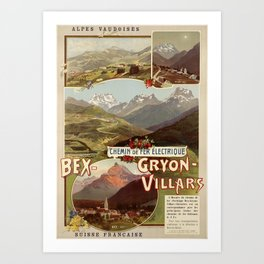 cartaz villars bex gryon chemin de fer electrique alpes vaudoises suisse francaise bvb Art Print