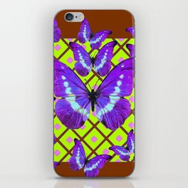 Migrating Purple Butterflies  on  Coffee Brown & Lime Color Pattern iPhone Skin