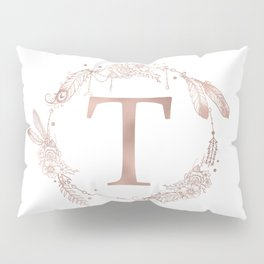 Letter T Rose Gold Pink Initial Monogram Pillow Sham