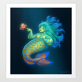 Mandarin Mermaid Art Print