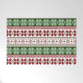 Green & Red Winter Fair Isle Welcome Mat
