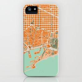 Barcelona city map orange iPhone Case
