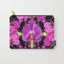 Purple  Butterfly Orchids Pattern Fantasy Yellow Black Art Carry-All Pouch