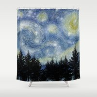 starry night Shower Curtains featuring Starry Night by Astrablink7