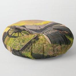 Broken Down Wooden Farm Wagon and Rake with Farm House  Floor Pillow