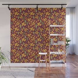Autumn Forest Leafs and Mushrooms - Red Wall Mural