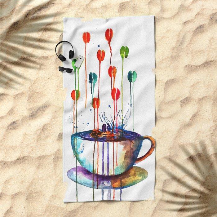 Coffee Splash Beach Towel