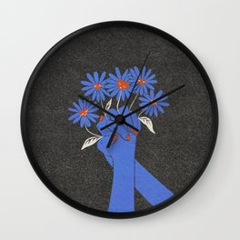 Love and Kindness Vintage Hands Flowers Hearts Wall Clock