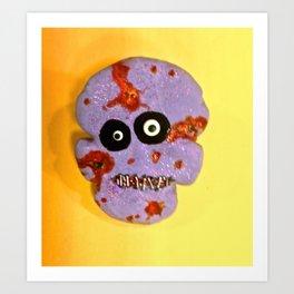 Zombie Skull Cookie Art Print