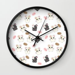 Hamsters and Macarons Wall Clock