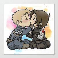 stucky Canvas Prints featuring Stucky chibi kiss by DeanDraws