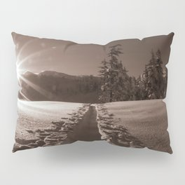 B&W Sunrise Backcountry Ski // Black and White Skin Track to Snowy Paradise Pillow Sham