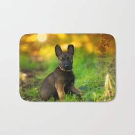 Wonderful autumn forest with curious dog puppies Bath Mat