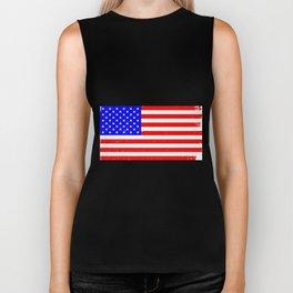 USA Flag Grunge Biker Tank