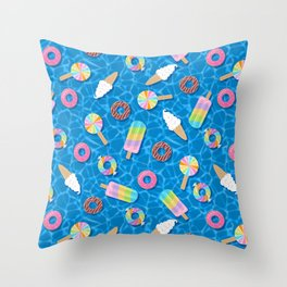 Sweet Treats Pool Floats Pattern – Blue Throw Pillow