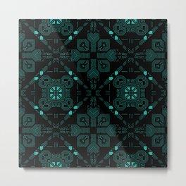 Dark Green Techno Lines Pattern Metal Print