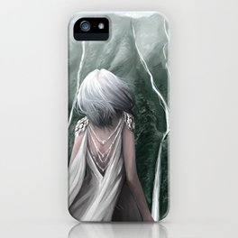Girl  standing by a mountain Digital Art Painting iPhone Case