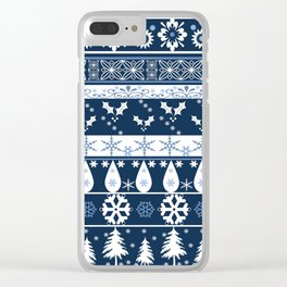 Retro . Christmas pattern . Blue background . Clear iPhone Case