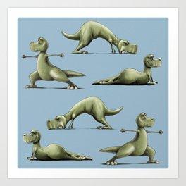 Yogasaurs (Blue) Art Print