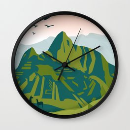 Machu Picchu Illustration by Cindy Rose Studio Wall Clock