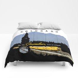Union Pacific Train poster 1936 - Retouched Version Comforters