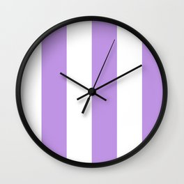 Wide Vertical Stripes - White and Light Violet Wall Clock