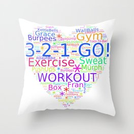 Love to Exercise & Work Out - Workout Love Throw Pillow