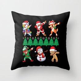 Funny Dabbing Xmas Santa Unicorn Dab Throw Pillow