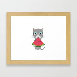 Cat with Melon Framed Art Print