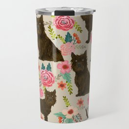 cairn Terrier florals dog pattern dog breed pet friendly gifts for dog person Travel Mug