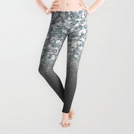 Black Gray & Silver Glitter Ombre Leggings