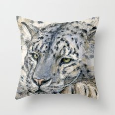 Snow Leopard Resting 778 Throw Pillow