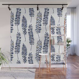 Watercolour Fern Pattern | Navy and Gold Wall Mural