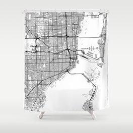 Miami Map White Shower Curtain