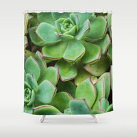 succulents Shower Curtains featuring Succulents by Michelle McConnell