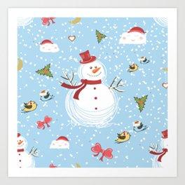 Christmas Elements Snowman Design Pattern Art Print