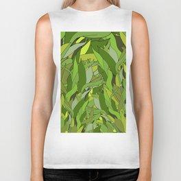 Green Bamboo Leaves Biker Tank