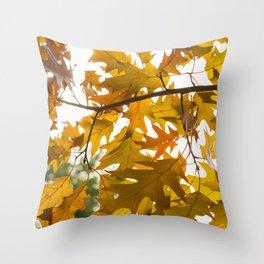 Golden oak leaves Throw Pillow