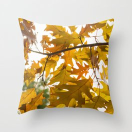 Golden oak leaves Throw Pillow