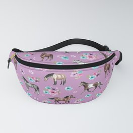 Purple Horse and Flower Print, Hand Drawn, Horse Illustration, Little Girls Decor Fanny Pack